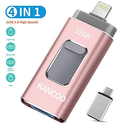USB Stick 32GB für iPhone Externer Speicher Speichererweiterung USB 3.0 Flash Drive Kompatibel für Apple iOS iPhone XS/XR/5/6/7/8 11 pro iPad OTG USB C Mac PC KANCOO - Rosa
