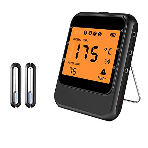 KAPAYONO TermóMetro Digital para Carne, AplicacióN Inteligente TermóMetro de Cocina con Control Remoto InaláMbrico para Alimentos con 2 Sondas-Negro