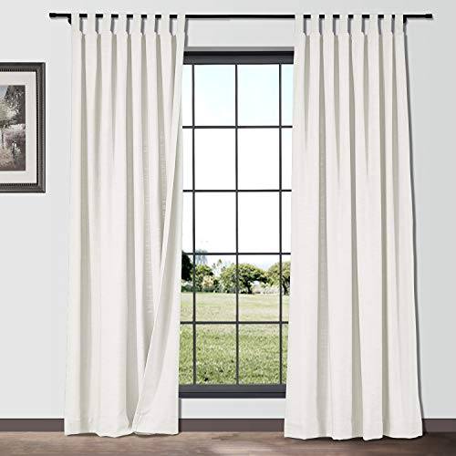 Blackout Curtains 45 inches Long for Bedroom Tab Top Curtain Room Darkening Thermal Insulated Drapes, 1 Panel, 42 inches Wide, Off White