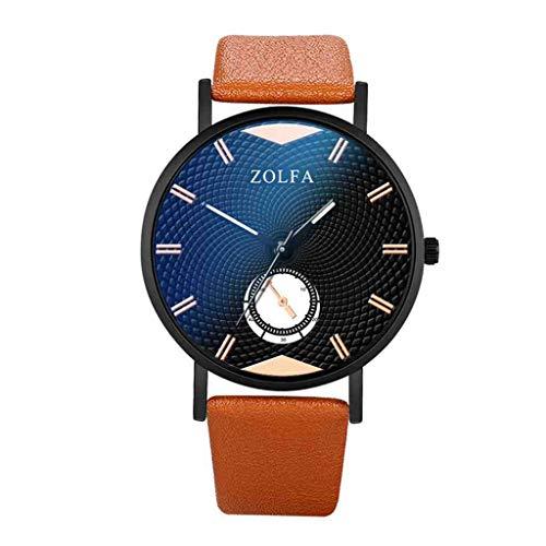 DECTN Reloj de Pulsera Relojes Hombre Elegante Minimalista Escala Romana Cinturón de Cristal Azul Reloj de Cuarzo para Hombre Erkek KOL i, Marrón