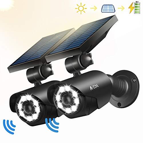 Solar Motion Sensor Light Outdoor - 800Lumens 8 LED Spotlight 5-Watt Solar Lights Outdoor IP66 Waterproof, Wireless Solar Flood Light for Porch Garden Patio Driveway Pathway,Aluminum,Pack of 2 (black)