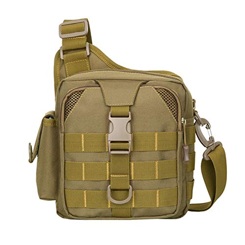 Men Bag Messenger Shoulder Bags Waterproof Male Camouflage Single Belt Sack Outdoor Hiking Travel Bag (Color : Khaki)
