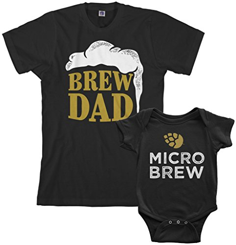 Threadrock Brew Dad & Micro Brew Infant Bodysuit & Men's T-Shirt Matching Set (Baby: 6M, Black Men's: L, Black)