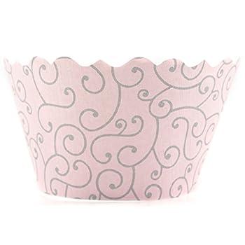 Bella Cupcake Couture Olivia Pink and Grey Mini Cupcake Wrapper Set of 18