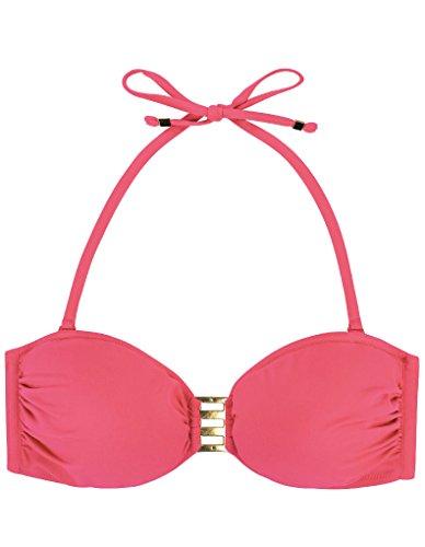 Marie Meili Malibu Bandeau Bikini Top in Hell Koralle MMS16S4058 10 UK (36 EU)