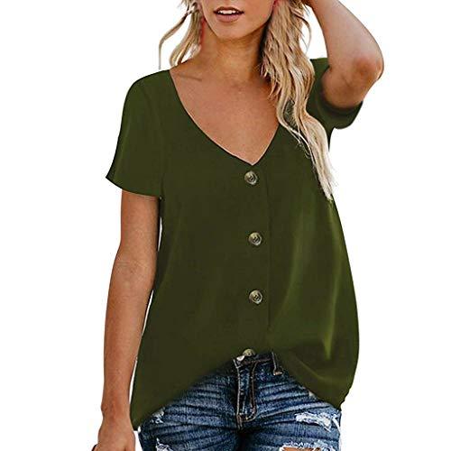 Lulupi Lässige Sommerkleider Damen Oberteile Blusen Elegant Langarmshirt V-Ausschnit T-Shirt Taste Casual Tunika Plus Size Tops