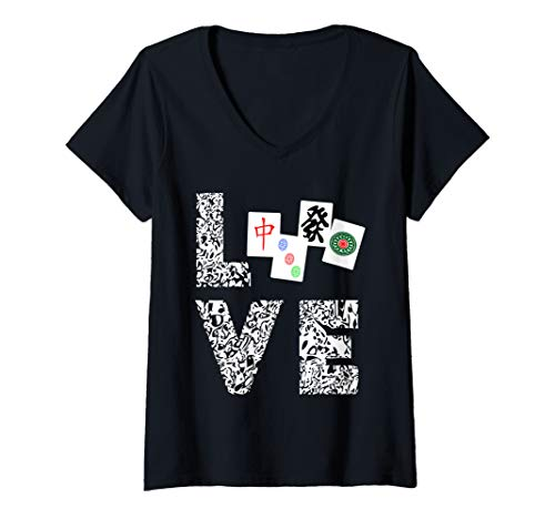 Womens Mahjong Love Playing Chinese Game Mah Jongg Player V-Neck T-Shirt