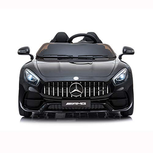 OCDAY 46' Benz Licensed Kids Ride Car Electric Powered ,2 Seater 12V Electric Kids Ride On Car Benz AMG GTR with RC Remote Control, Wheels Suspension, MP3 Player, LED Lights, Black