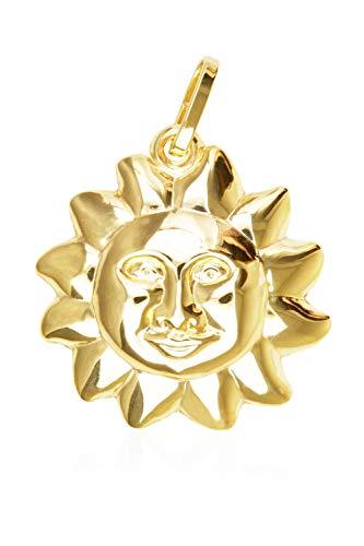 Sonnen Anhänger (Ohne Kette) Gelbgold 333 Gold (8 Karat) Ø 15mm Goldanhänger Kettenanhänger Damenanhänger Golden Sun V0004241
