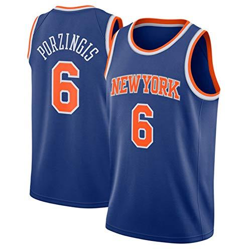 ZLWJ New York Knicks City Edition Trikot, Kristaps Porzingis Basketball Trikot # 6 Ärmelloses Polyester Classic Mesh Atmungsaktives Besticktes Basketball Uniform Top T-Sh Blue-M