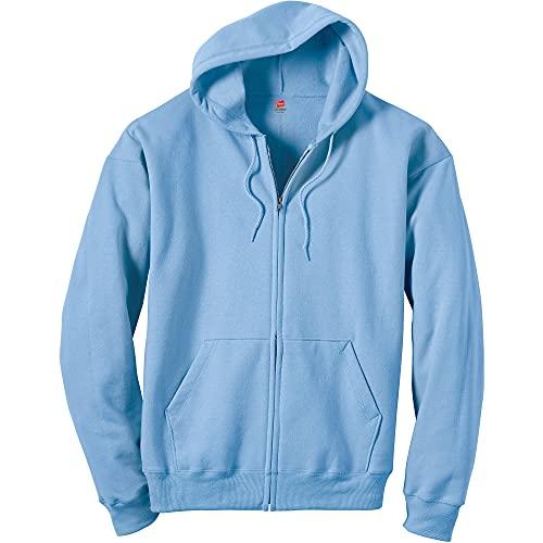 Hanes Men's Full-Zip Eco-Smart Hoodie, Light Blue, Small
