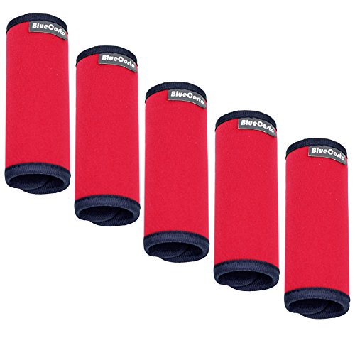 BlueCosto (Red, 5-Pack) Soft Neoprene Luggage Handle Wraps Grips Suitcase Identifier Tags