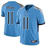 Yongge Hombres Rugby Ropa Camisetas De Jersey De Fútbol Americano Al Aire Libre Titans 17# Brown Jersey Ventilador Deportivo Transpirable Manga Corta(Size:3X-Large,Color:A)