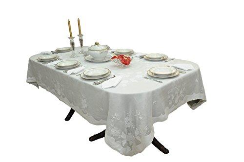 Mantel bordado Madeira hecho a mano simple y elegante, con servilletas, en organdí y lino - beige, blanco