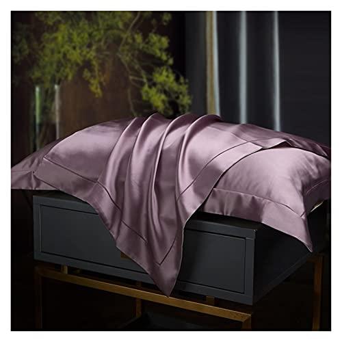 HJUIK Funda de almohada de seda de gama alta, fundas de almohada bordadas, 2 piezas (color violeta, tamaño: 48 x 74 cm)