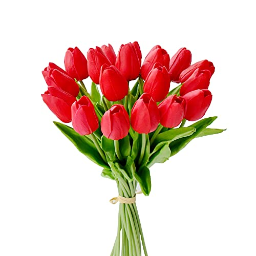 """Mandy's 20pcs Red Artificial Tulip Silk Flowers 13.5"""" for Home Kitchen Wedding Decorations"""