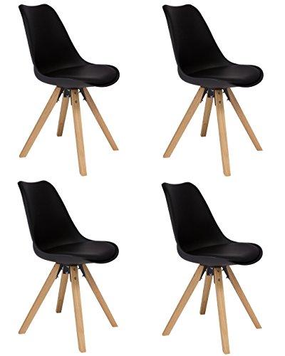 SAM 4er Set Schalenstuhl Bojan, schwarz, integriertes Kunstleder-Sitzkissen, Gestell aus Eichenholz, naturfarben, Esszimmerstuhl