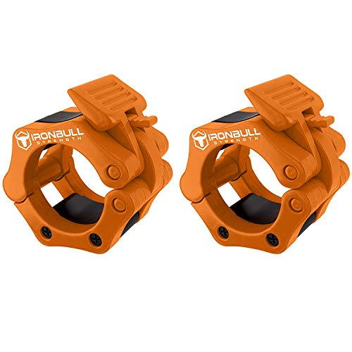 Barbell Collars (Pair) - Locking 2' Olympic Size Weight Clamps - Quick Release Collar Clips - Bar Clamps Great for Weight Lifting, Olympic Lifts and Strength Training (Orange)