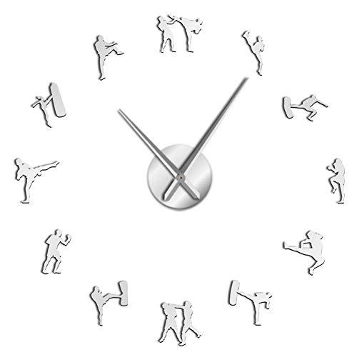 UIFVCN Art Taekwondo Figuren DIY Giant Wanduhr Kickboxing Karate Guys Wandaufkleber Dekorative Große Wanduhr Uhr , Silber 37 Zoll