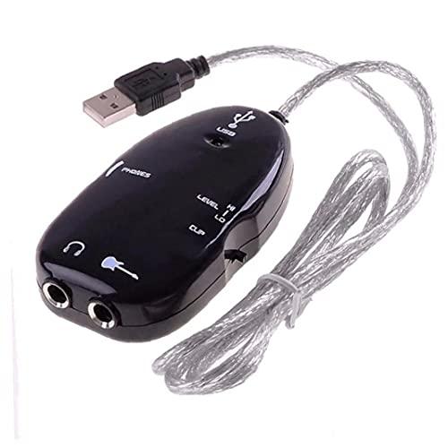 Cable Guitarra USB Audio Enlace Audio Adaptador Interfaz USB Guitarra Link Grabación Computadoras Amplificador Cable Accesorios Jugadores Black