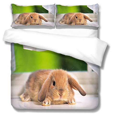 Bettbezug Set,3D-Druck Bettwäsche Kaninchen Bettbezug Kissen Weich Bequem Bequem Leicht Atmungsaktiv Versteckter Reißverschluss Single Double King Super King, Double (200X200Cm)