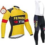 Men's Cycling Jersey Set Cycling Suit Winter Thermal Cycling Top + Long Bib Cycling Pants for Race Bike Bicycle Team Long Sleeve Top Padded Bib Tights Pants Combo Set