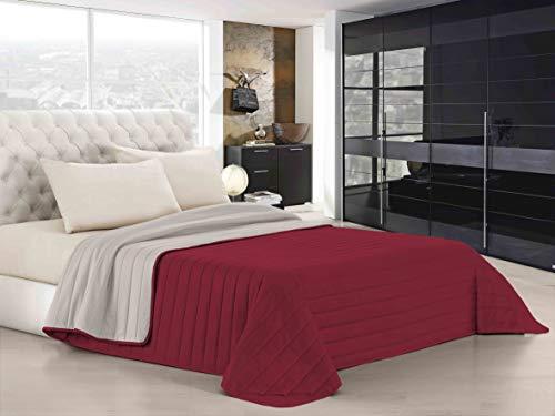 Italian Bed Linen Elegant Trapuntino Estivo, Microfibra, Bordeaux/Panna, Matrimoniale, 260 x 270 cm