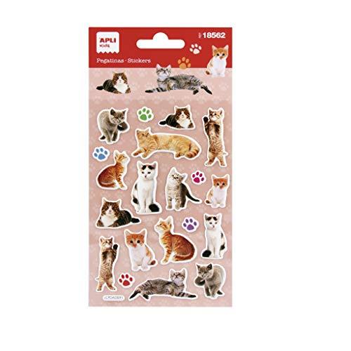 APLI Kids 18562 - Pegatinas Gatos realistas. Incluye 1 hoja con 20 pegatinas de adhesivo permanente. Ideales para Scrapbooking, decoración o DIY