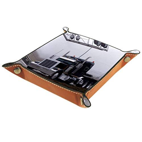 Yuzheng Camión Negro Bandeja de cajones Escritorio Papelería Artículos Diversos Gadget Organizador de Cuero Plegable Caja de Almacenamiento Contenedor de Llaves 20.5x20.5cm