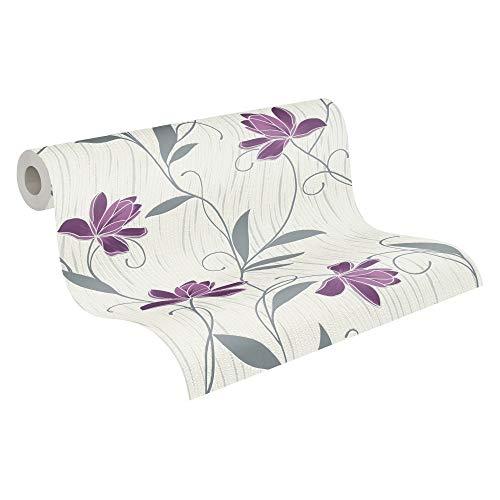 AS Creation A.S. Création Strukturprofiltapete Styleguide Jung Blumentapete floral 10,05 m x 0,53 m lila weiß grau 306234 3062-34