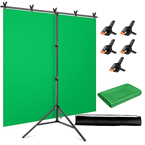 YAYOYA Green Screen Backdrop Kit with Stand 5x6.5ft, Photography Backdrop Background Stand with Chromakey Green Screen Background and 5 Backdrop Clamps, for Photoshoot Televison Online Meetings Zoom