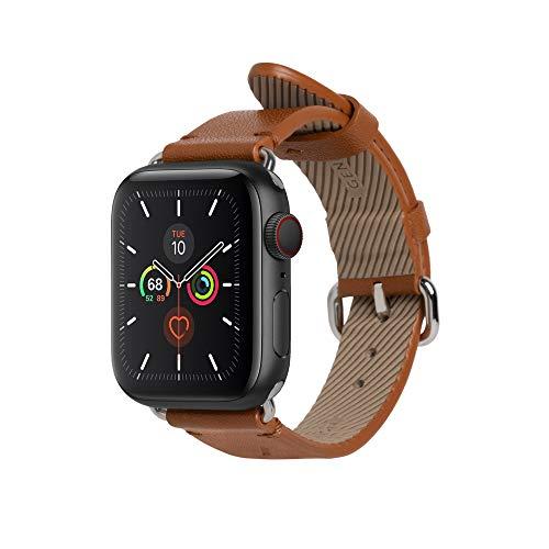 Native Union Klassisches Uhrenarmband für die Apple Watch 38/40mm – Echtes Italienisches Nappaleder Edelstahlelemente mit Weichem Nubuk-Futterleder(BRÄUNEN)