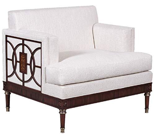 Casa Padrino sillón de salón Art Deco de Lujo Blanco/marrón Oscuro 92 x 83 x A. 82 cm - Muebles de Salón Art Deco - Calidad de Lujo