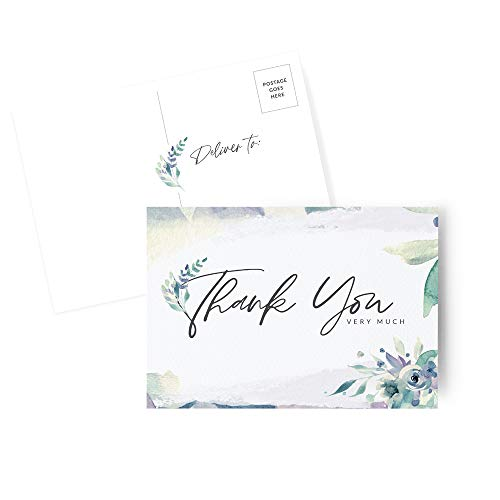 MAZAL MOMENT Thank You Cards, Pack of 50 Lavender Watercolor Postcard Style Note Cards – Gratitude Cards for Weddings, Baby & Bridal Showers, Birthdays, Christmas & Thanksgiving (4x6 Inches)