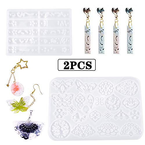 Earring Resin Molds Jewelry Epoxy Resin Casting Silicone Molds Including Earring Leaf,Teardrop, Round, Heart Shaped, Snowflake for Resin Jewelry, Pendant, Resin Crafts DIY