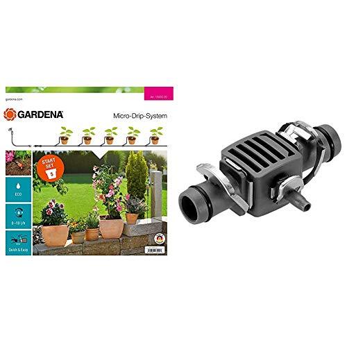 Gardena 13000-20 Set S: el prácticoSet de Inicio con Sistema Micro-Drip para 5 Plantas en Maceta + 8333-20 Pieza de reducción en T para Las boquillas de pulverización del Tubo de conexión
