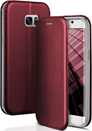 OneFlow® Funda Libro + Cierre magnético Compatible con Samsung Galaxy S7 Edge | Piel sintética, Rouge Vin