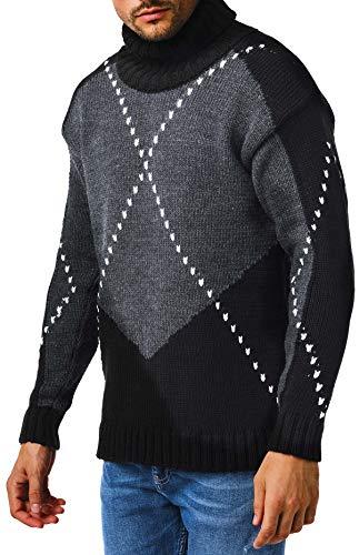 Leif Nelson Herren Strickpullover schwarzer Pullover mit Rollkragen Rollkragenpullover Männer Pulli für Winter Slim Fit Grobstrick Winterpullover Grob LN6010 XL Schwarz-Anthrazit
