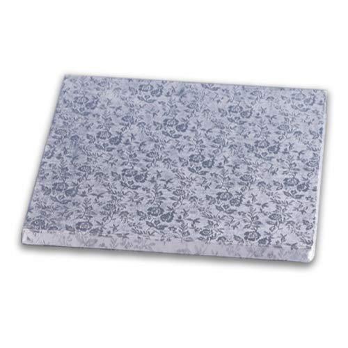 Cake Company Torten-Platte in Silber | 1 Stück | 33 x 33cm groß | 1cm flach | Stabile quadratische Kuchen-Platten | Alu-kaschierte Pappe | Servier-Platte vier-eckig zum Dekorieren & Transport
