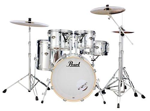 Pearl Export 5 piezas. Juego de tambor con paquete de hardware serie 830 (platillos no incluidos), espejo chapado en cromo (EXX705N/C49)