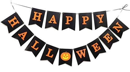 Happy Halloween Banner Bunting Decorations - Black&Orange Paper Garland with Pumpkin Sign, Outdoor/Indoor Fall Welcome Party Wall Decor for Porch/Front Door/Home Yard/Mantle Fireplace Trick or Treat