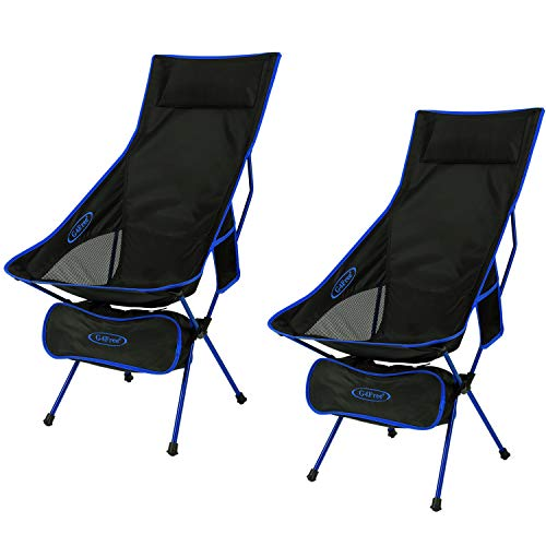 G4Free Upgraded Outdoor 2 Pack Camping Chair Portable Lightweight Folding Camp Chairs with Headrest amp Pocket High Back High Legs for Outdoor Backpacking Hiking Travel Picnic Festival Dark Blue