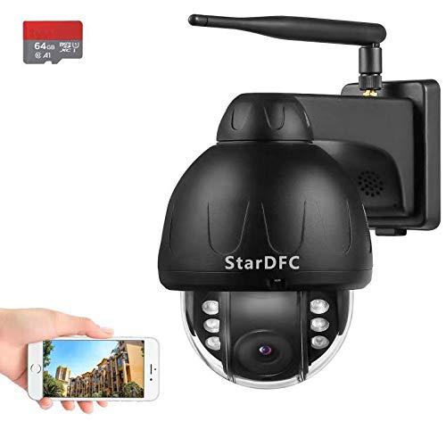5MP Camera Surveillance WiFi Exterieure, PTZ Camera IP HD 1920P - Grand Angle 360 degrés - Vision Nocturne - Détection de Mouvement - Email d'Alerte - Etanche IP66 - Carte SD 64G Incluse