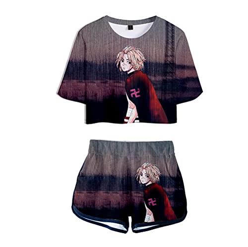 HBDjunn Tokyo Revengers Camiseta de Manga Corta de 2 Piezas,3D Mujeres Sexy Verano Manga Corta Dos Piezas Conjunto Camisetas + Pantalones Cortos
