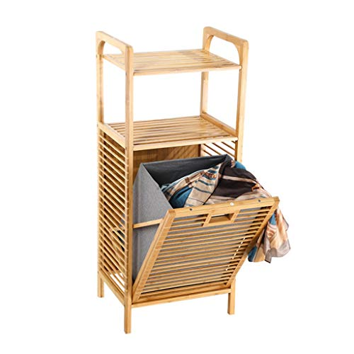 ZHEN GUO Servicio de lavandería Tild-out Lavandería Bambú Freestanding Ropa Cesta con Estante y Forro extraíble, Estantería de lavandería para lavandería Dormitorio de Sala de Estar