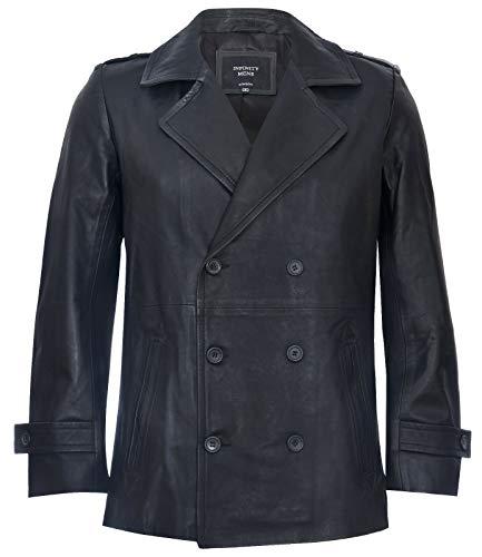 Men's Black Pea Coat Leather Jacket Dr Who German Naval L