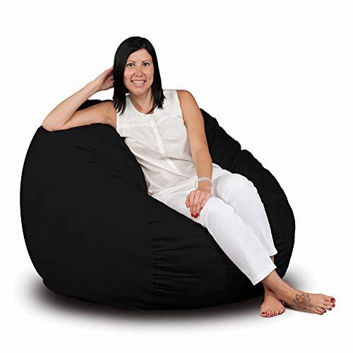 FUGU Bean Bag Chair, Premium Foam Filled 3 XL, Protective Liner Plus Removable Machine Wash Black Cover