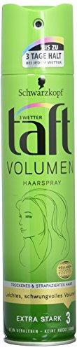 Schwarzkopf 3 Wetter Taft Haarspray Volumen trocken-strapaziertes Haar extra starker Halt 3, 250 ml