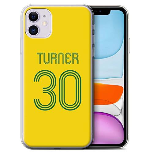 eSwish Personalizzato Kit Camicia Club Calcio Personalizzare Custodia/Cover Gel/TPU per Apple iPhone 11 / Giallo Verde Design/Iniziale/Nome/Testo Caso/Cassa