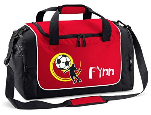 Mein Zwergenland Sporttasche Kinder personalisierbar 38L, Kindersporttasche mit Name und Fußball gelb Bedruckt in Rot
